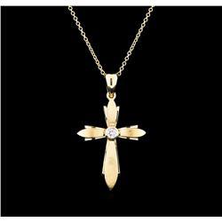 0.12 ctw Diamond Cross Pendant With Chain - 14KT Yellow Gold