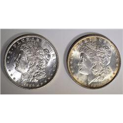 2- 1886 MORGAN DOLLARS, CHOICE BU