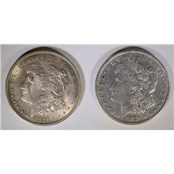 2-1921 MORGAN DOLLARS, CHOICE BU