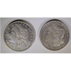 2-1921-D MORGAN DOLLARS, CHOICE BU