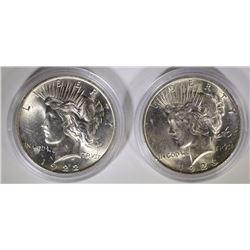 1922 & 1923 PEACE SILVER DOLLARS, CH BU