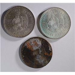 3-1948 MEXICAN 5 PESOS COINS