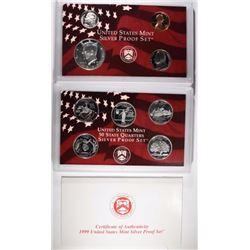 1999 U.S. SILVER PROOF SET IN ORIG BOX/COA