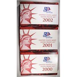 2000, 01 & 02 U.S. SILVER PROOF SETS  ORIG BOXES/C