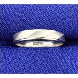 Platinum Band Wedding Ring with Unique Twist Design