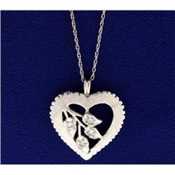 Vintage Diamond Heart Pendant with Chain
