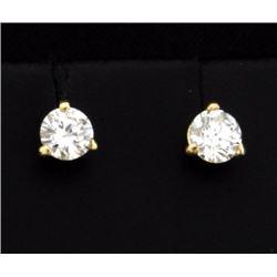 1/2 ct Diamond Stud Earrings in 14K Yellow Gold Martini Settings