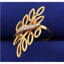 Diamond Designer Ring in Abstract Plant with Leaves Design