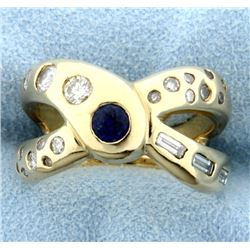 1 ct TW Custom Designed Sapphire and Diamond Ring