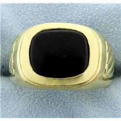 Heavy 18K Yellow Gold Men's Onyx Ring