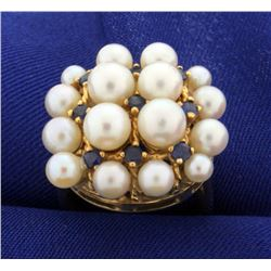 Vintage Pearl and Sapphire Ring