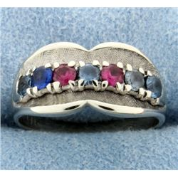 Ruby, Sapphire, Aquamarine, and Blue Topaz Ring in 14k White Gold