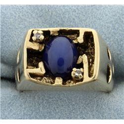Men's Star Sapphire & Diamond Ring