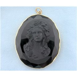 Antique Jet Mourning Cameo Pendant