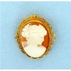 Cameo Pin/Pendant in 18k Gold