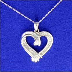 1/4 ct TW Diamond Heart Pendant with Chain