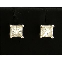 3/4ct TW Princess Cut Diamond Stud Earrings