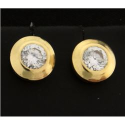 CZ Gemstone Gold Earrings