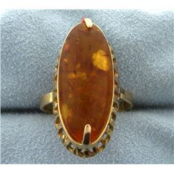 Large Amber Gemstone Ring