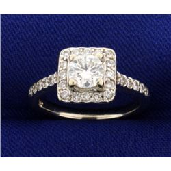 1ct TW Diamond Halo Engagement Ring