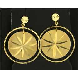 Round Star Design Dangle Earrings