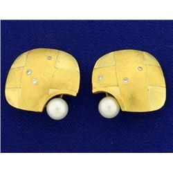 Betsy Fuller Designer Pearl and Diamond Clip-On Earrings