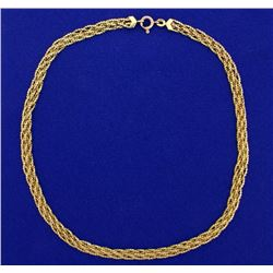 Italian Made 15 1/2 Inch Woven S-Link Neck Chain