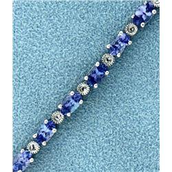 7.5ct TW Tanzanite and Diamond Tennis Bracelet