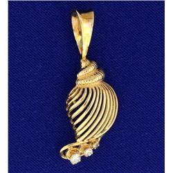 Diamond Seashell Pendant