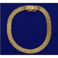 7 1/2 Inch Woven Link Beaded Edge Bracelet