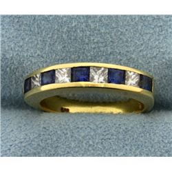 Sapphire and Diamond Stackable Band Ring