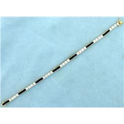Sapphire and Diamond Line Tennis Bracelet