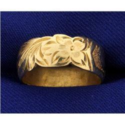 Vintage Flower Heart Band Ring