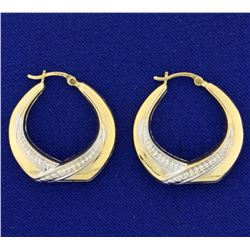 Designer Yellow and White Gold Hoop Earrings