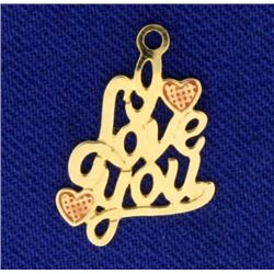 14k Gold I Love You Pendant or Charm