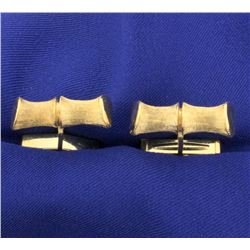 Unique Bamboo Shaped 14k Gold Cuff Links