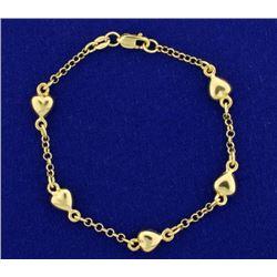 Child's Cable Link Heart Bracelet