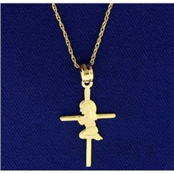 First Communion Pendant with Chain in 14k Gold