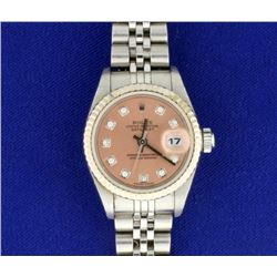 2005 Women's Rolex DateJust Watch with Salmon and Diamond Dial