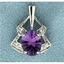 White Gold Amethyst and Diamond Pendant