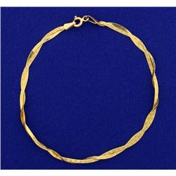 Italian Made Woven Designed Gold Bracelet