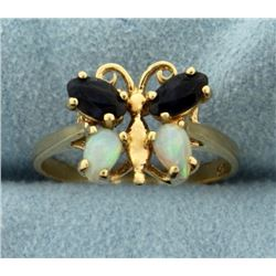 Butterfly Opal and Sapphire Ring