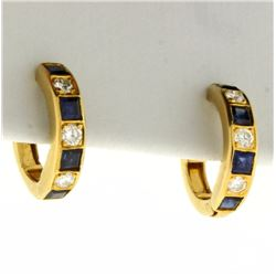 Natural Sapphire and Diamond Hoop Earrings