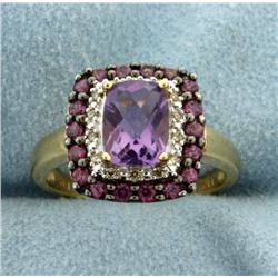 Amethyst, Diamond, and Pink Topaz Ring