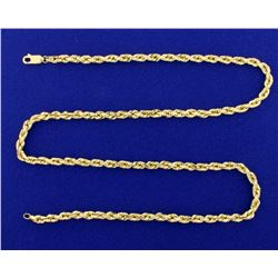 22 1/2 Inch Rope Style Neck Chain in 14k Gold