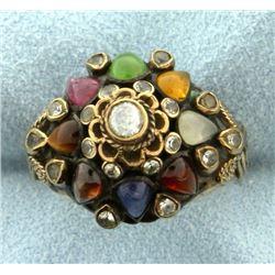 Antique Multi Gemstone Ring in 14k Gold
