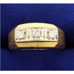 .3ct TW Men's 3 Stone Diamond Ring
