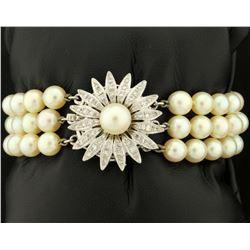 Antique Diamond and Akoya Pearl Three Strand Bracelet