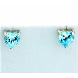 Heart Shaped Sky Blue Topaz Stud Earrings