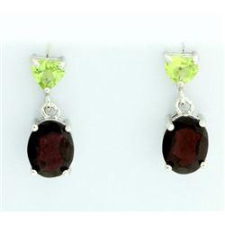 Christmas Garnet and Peridot Dangle Earrings